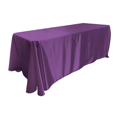 Purple Bridal Satin Rectangular Tablecloth 90 x 156