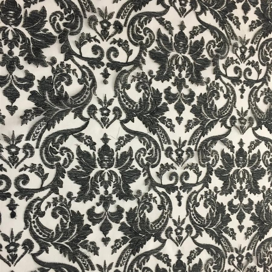 Black Floral Embroidered Mesh Lace Fabric | iFabric