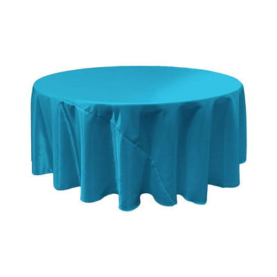 Turquoise Bridal Satin Round Tablecloth 132