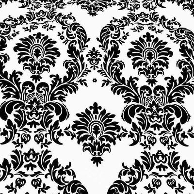 White Taffeta Flocking Damask Fabric