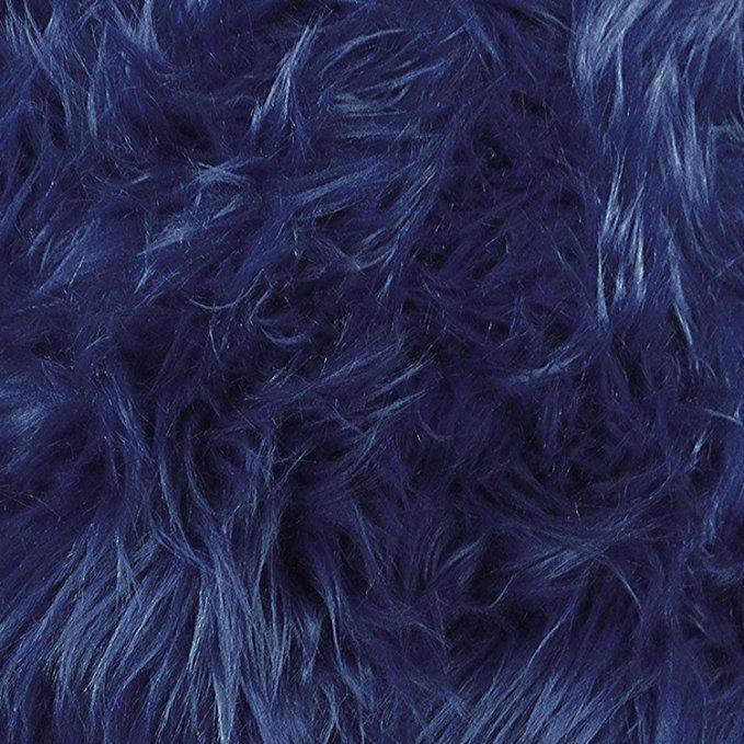 Navy Blue Faux Fake Fur Solid Shaggy Long Pile Fabric