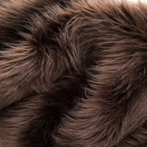 Brown Faux Fake Fur Solid Shaggy Long Pile Fabric