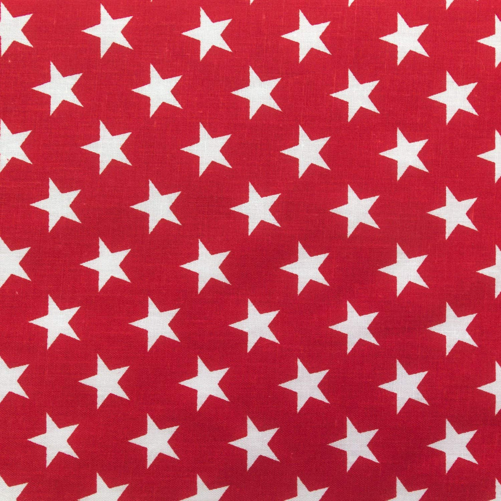 White Stars on Red Poly Cotton Fabric