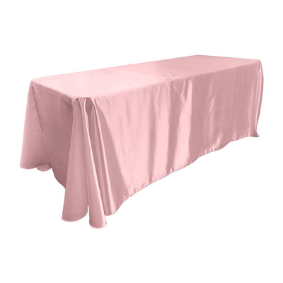 Light Pink Bridal Satin Rectangular Tablecloth 90 x 156