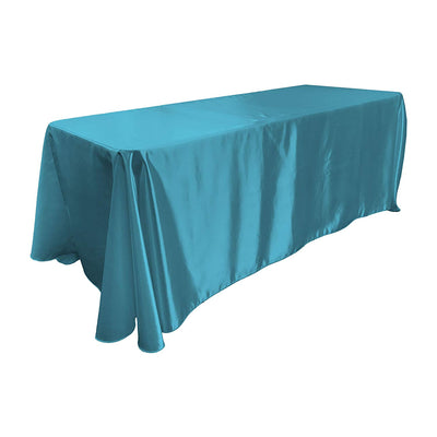 Turquoise Bridal Satin Rectangular Tablecloth 90 x 156