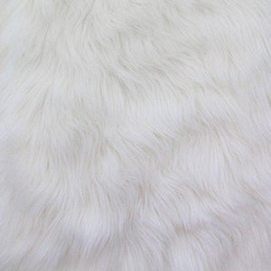 White Faux Fake Fur Solid Shaggy Long Pile Fabric