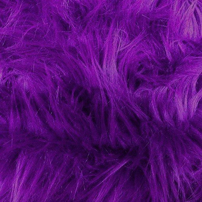 Purple Faux Fake Fur Solid Shaggy Long Pile Fabric