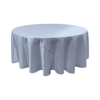 Light Blue Bridal Satin Round Tablecloth 132