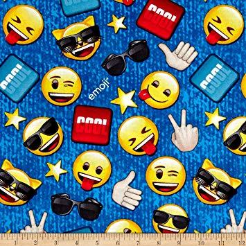 Emoji Cool 100% Cotton Fabric