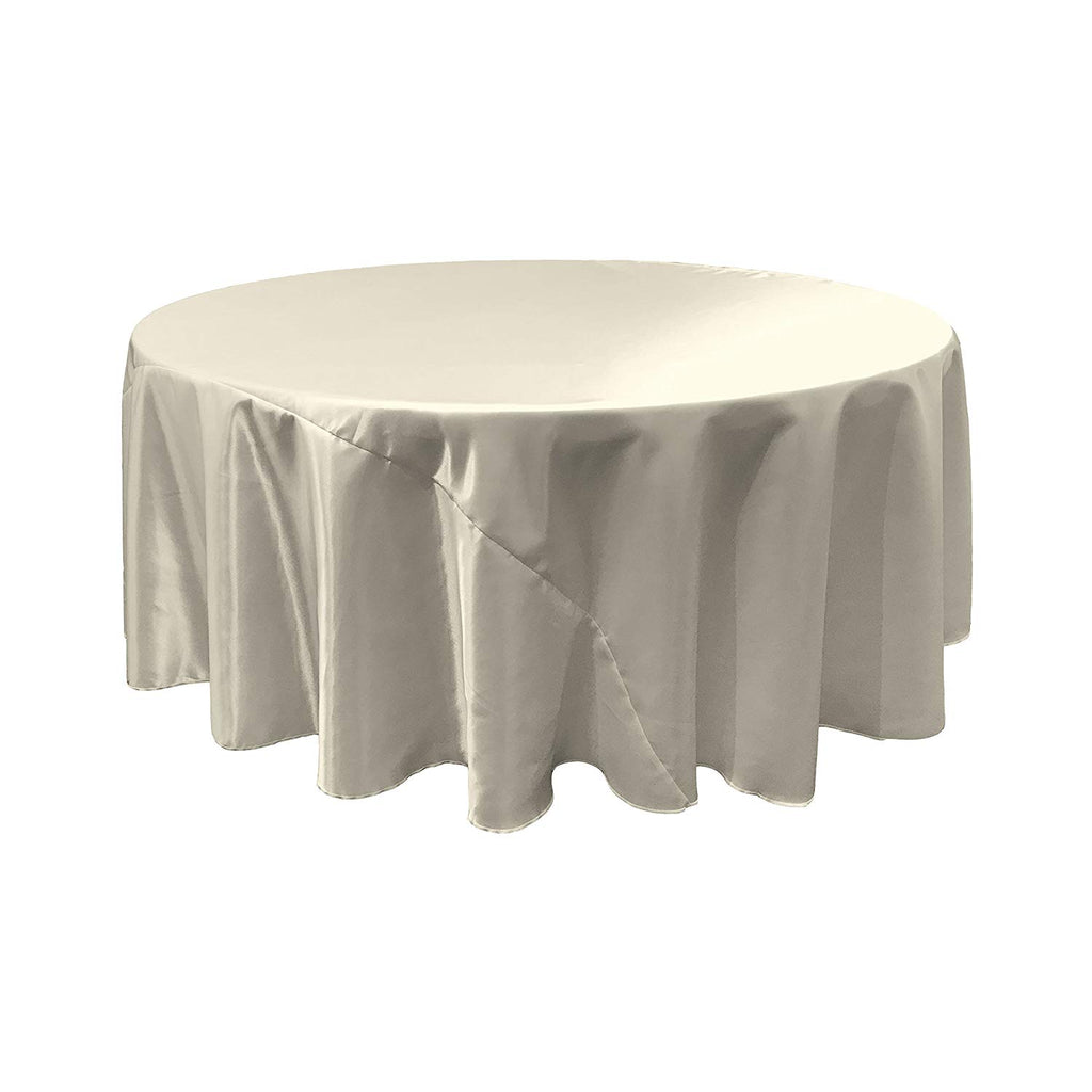 White Satin Round Tablecloth 120""