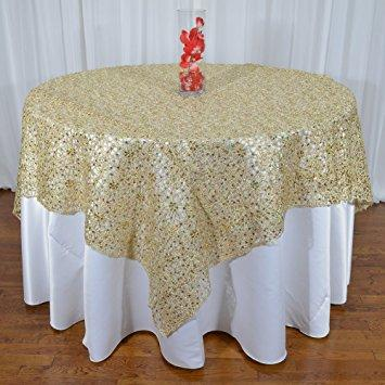 "Champagne Chemical Lace Square Overlay Tablecloth 60"" x 60"""