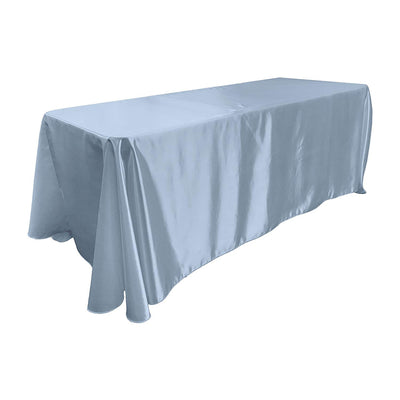 Light Blue Bridal Satin Rectangular Tablecloth 90 x 156