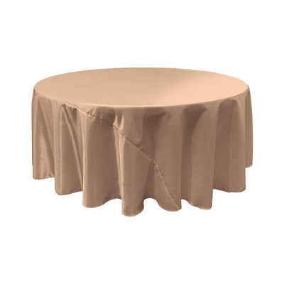 Taupe Bridal Satin Round Tablecloth 132
