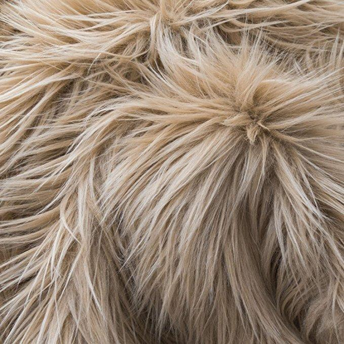 Khaki Faux Fake Fur Solid Shaggy Long Pile Fabric