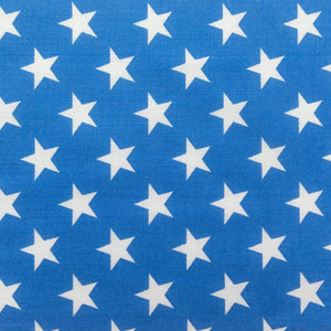 White Stars on Blue Poly Cotton Fabric