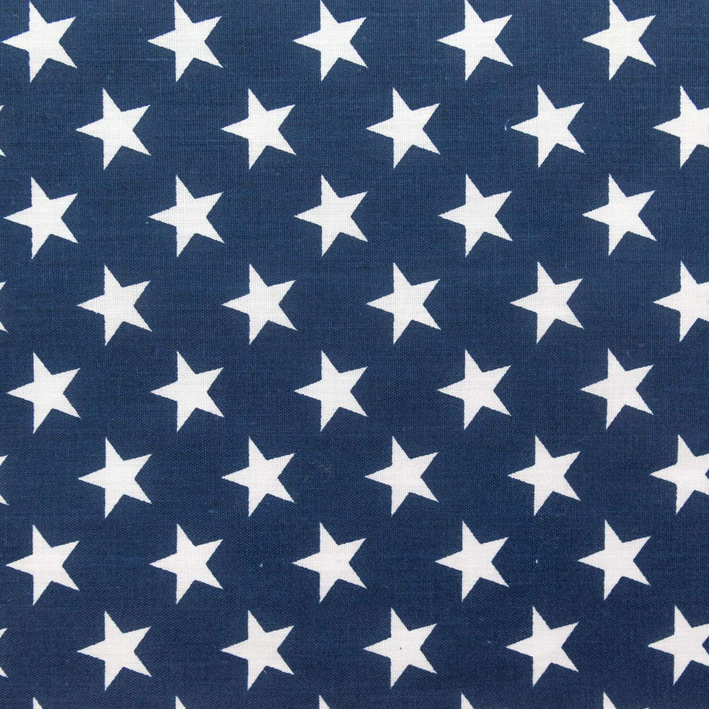 White Stars on Navy Poly Cotton Fabric