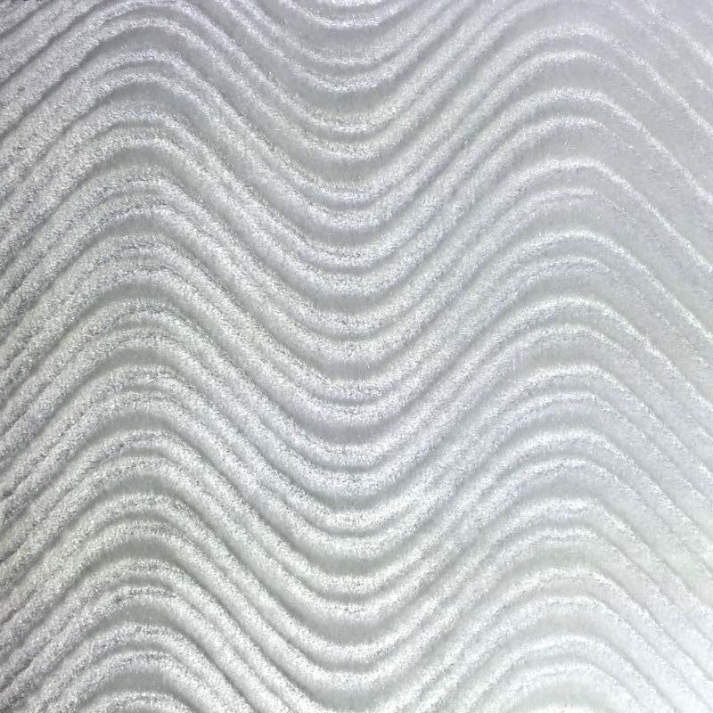 White Velvet Flocking Swirl Upholstery Fabric