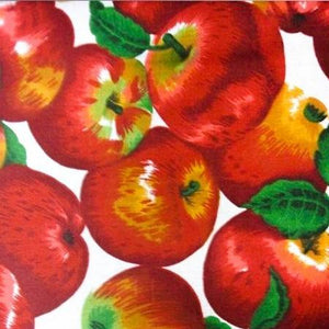 Apple Packed on White Poly Cotton Fabric