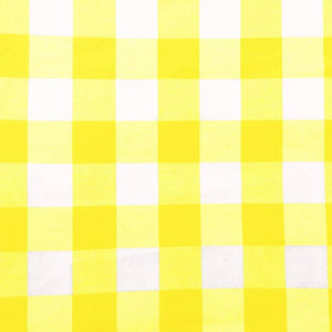 "Yellow Checkered Gingham 1"" Poly Cotton Fabric"