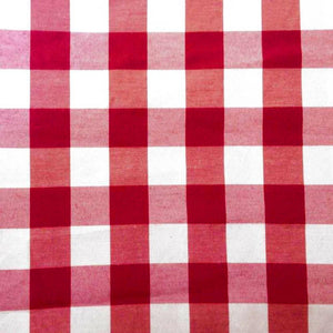 "Red Checkered Gingham 1"" Poly Cotton Fabric"