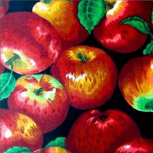 Apple Packed on Black Poly Cotton Fabric