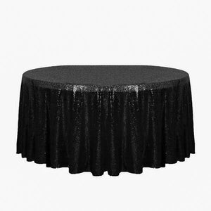 "132"" Black Glitz Sequin Round Tablecloth"