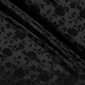 Black Satin Jacquard Roses Fabric