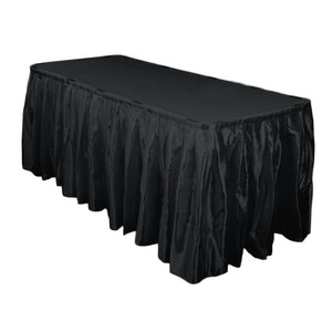 14 Ft. Hunter Black Accordion Pleat Satin Table Skirt