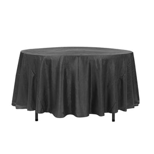 "108"" Black Crinkle Crushed Taffeta Round Tablecloth"