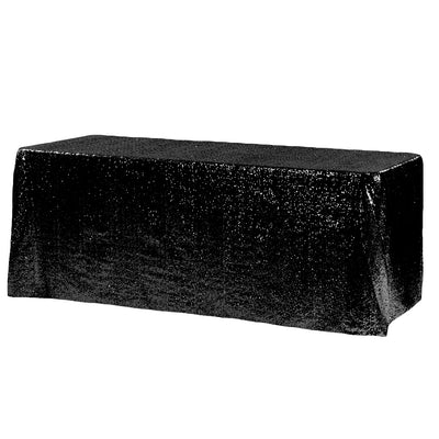 Black Glitz Sequin Rectangular Tablecloth 90 x 132