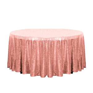"132"" Blush Glitz Sequin Round Tablecloth"