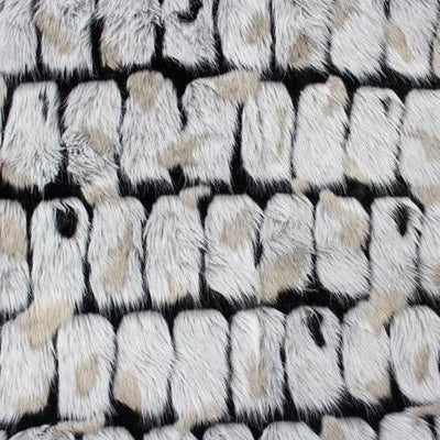 Black Gray Bricks Faux Fur Long Pile Fabric