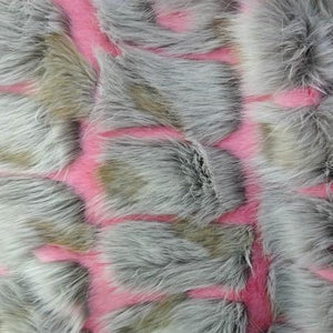 Pink Gray Bricks Faux Fur Long Pile Fabric