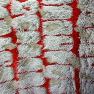 Red Gray Bricks Faux Fur Long Pile Fabric