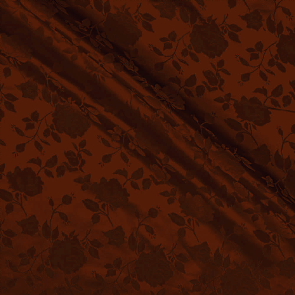Brown Satin Jacquard Roses Fabric