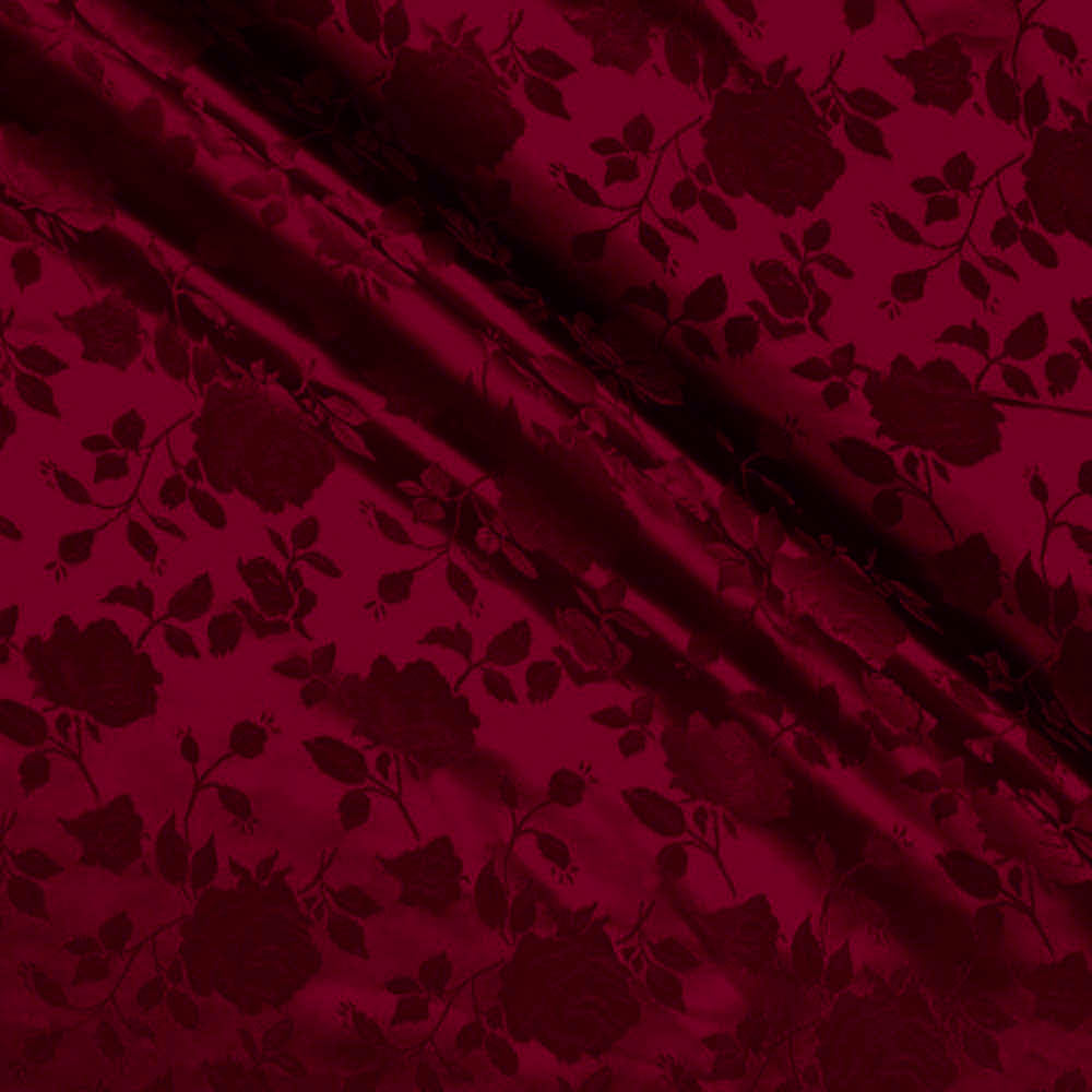 Burgundy Satin Jacquard Roses Fabric
