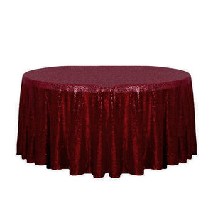 "132"" Burgundy Glitz Sequin Round Tablecloth"