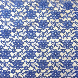 Royal Blue Floral Raschel Lace Fabric