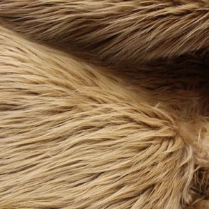Caramel Faux Fake Mongolian Animal Fur Fabric Long Pile