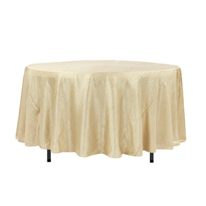 "108"" Champagne Crinkle Crushed Taffeta Round Tablecloth"