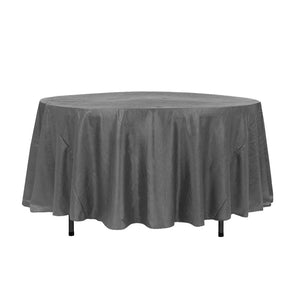 "108"" Charcoal Crinkle Crushed Taffeta Round Tablecloth"