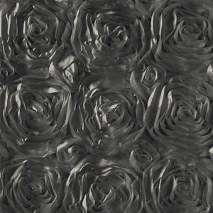 Rosette Satin Charcoal Fabric