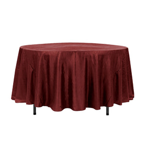 "108"" Cranberry Crinkle Crushed Taffeta Round Tablecloth"