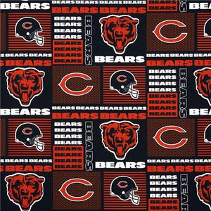Chicago Bears NFL Patchwork 100% Cotton Print Fabric