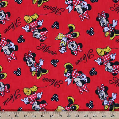 Disney Minnie Mouse Red 100% Cotton Fabric