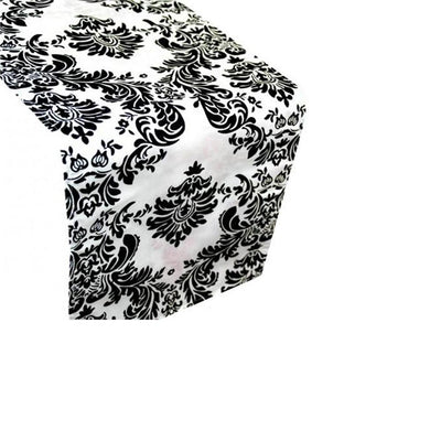 Black and White Taffeta Damask Runner