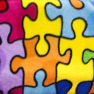 Multicolor Jigsaw Puzzle Anti Pill Premium Fleece Fabric