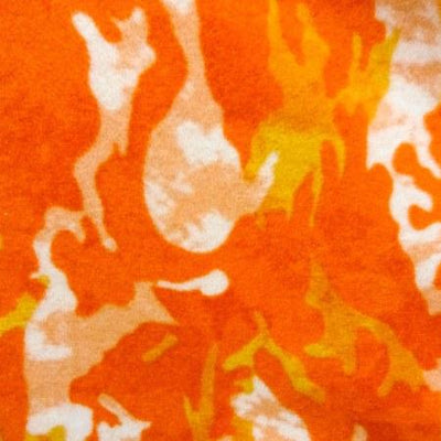 Orange Camouflage Fleece Fabric