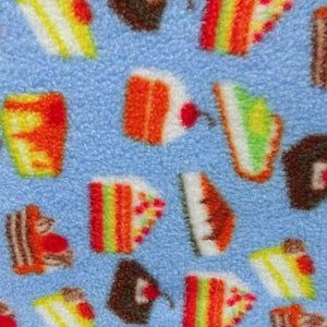Sliced Cakes on Blue Anti Pill Fleece Fabric