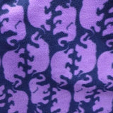 Purple Elephant Silhouette on Dark Violet Anti Pill Animal Theme Fleece Fabric